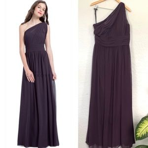 Bill Levkoff Plum One Shoulder Gown
